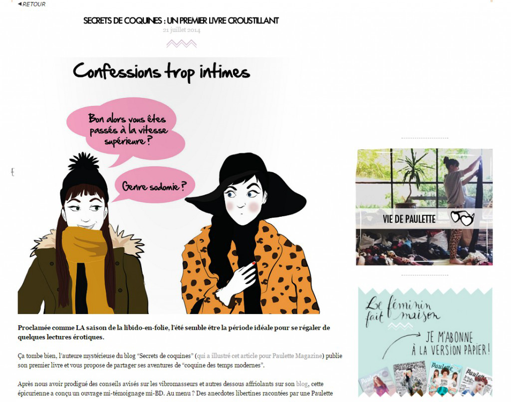 Secrets de coquines - Paulette Magazine - Article